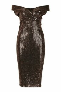 Womens Bardot Sequin Midi Dress - metallics - 14, Metallics