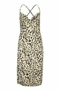 Womens Cowl Front Leopard Print Midi Dress - beige - 16, Beige