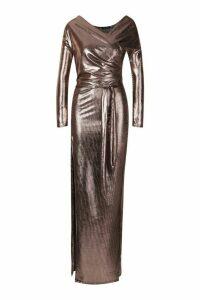 Womens Metallic Off The Shoulder Split Maxi Dress - brown - 16, Brown