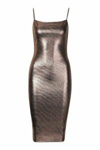 Womens Metallic Strappy Midi Dress - brown - 16, Brown