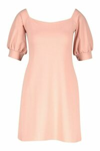 Womens Square Neck Puff Sleeve Shift Dress - pink - 14, Pink