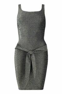 Womens Square Neck Tie Detail Mini Dress - black - 14, Black