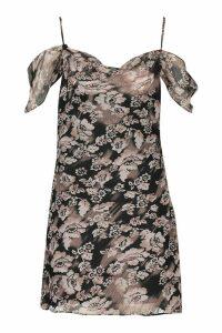 Womens Woven Floral Cowl Neck Cold Shoulder Mini Dress - black - 14, Black