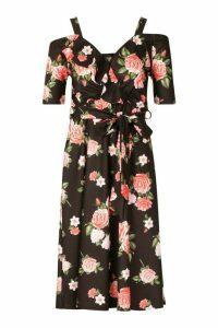 Womens Rose Print Cold Shoulder Ruffle Midi Dress - black - 16, Black