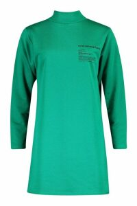 Womens Slogan Funnel Neck Long Sleeve Sweat Dress - Green - 16, Green