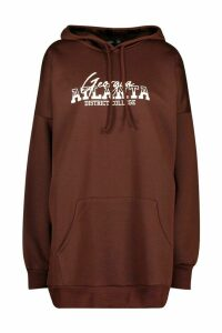 Womens Hooded Slogan Pocket Sweat Dress - brown - 16, Brown