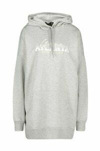 Womens Hooded Slogan Pocket Sweat Dress - grey - 14, Grey