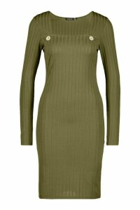 Womens Recycled Wide Rib Midi Dress With Button Detail - green - 14, Green