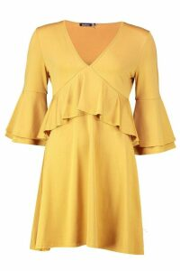 Womens Recycled Double Layer Frill Smock Dress - yellow - 26, Yellow