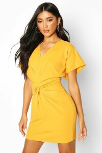 Womens Crepe Twist Front Mini Dress - yellow - 14, Yellow