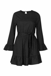 Womens Woven Spot Ruffle Skater Dress - black - 14, Black