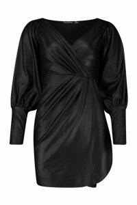Womens Wet Look Gathered Wrap Mini Dress - black - 14, Black