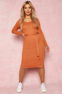 Womens Recycled Tie Waist Rib Midi Dress - brown - 22, Brown