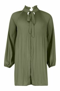 Womens Pussy Bow Pleated Shift Dress - green - 16, Green