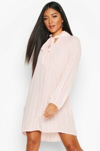 Womens Pussy Bow Pleated Shift Dress - pink - 16, Pink