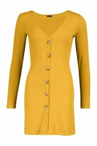 Womens V-Neck Button Through Shift Dress - yellow - M, Yellow
