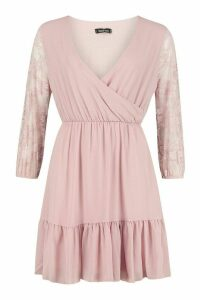 Womens Woven Lace Sleeve Wrap Skater Dress - pink - 16, Pink