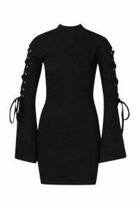 Womens Premium Rib Flare Sleeve Bodycon Mini Dress - black - 14, Black