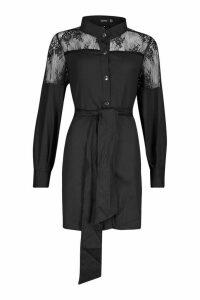 Womens Lace Insert Swing Shirt Dress - black - 16, Black