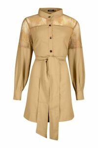 Womens Lace Insert Swing Shirt Dress - beige - 16, Beige