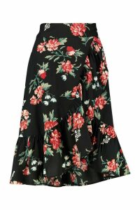 Womens Wrap Front Large Floral Ruffle Midi Skirt - red - 16, Red