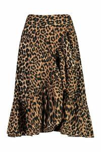 Womens Wrap Front Leopard Print Ruffle Midi Skirt - multi - 16, Multi