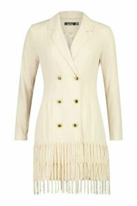 Womens Oversized Tassle Blazer Dress - beige - 8, Beige