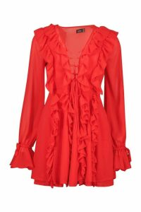 Womens Mesh Extreme Ruffle Tie Front Skater Dress - red - 16, Red