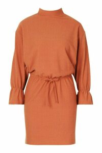 Womens Funnel Neck Tie Sleeve Detail Shift Dress - orange - 10, Orange