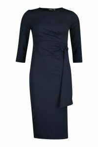 Womens Knot Detail Midi Dress - navy - 10, Navy
