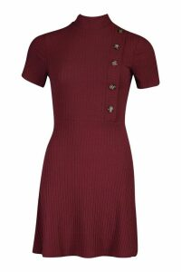 Womens High Neck Rib Button Skater Dress - red - 16, Red