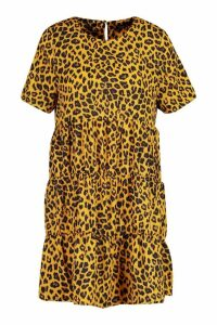 Womens Shirt Dress Animal Print - brown - 14, Brown