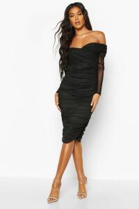 Womens Off Shoulder Ruched Mesh Bodycon Midi Dress - black - 14, Black