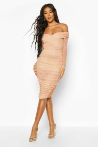 Womens Off Shoulder Ruched Mesh Bodycon Midi Dress - Beige - 14, Beige