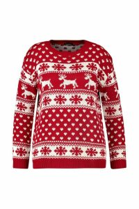 Womens Plus Snowflake Christmas Jumper - red - 20-22, Red