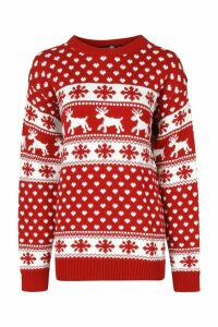 Womens Tall Reindeers Christmas Jumper - red - M/L, Red