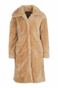 Womens Premium Oversized Teddy Faux Fur Coat - beige - M, Beige