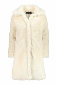 Womens Premium Oversized Teddy Faux Fur Coat - white - M, White