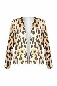 Womens Leopard Satin Kimono - brown - M, Brown