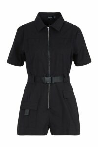 Womens Utility Safety Buckle Cargo Playsuit - black - 14, Black