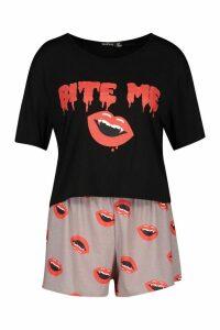Womens Halloween Bite Me Pyjama Short Set - black - 14, Black