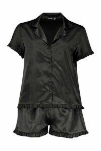 Womens Satin Ruffle Button Through PJ Short Set - black - 16, Black