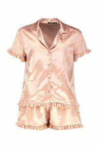 Womens Satin Ruffle Button Through PJ Short Set - metallics - 16, Metallics