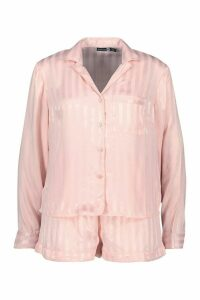 Womens Jacquard Stripe Button Through PJ Short Set - metallics - 14, Metallics