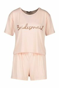 Womens Bridesmaid Bridal T-shirt And Shorts PJ Set - metallics - 20, Metallics