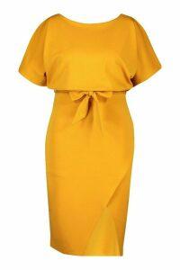 Womens Plus Double Layer Midi Dress - yellow - 20, Yellow