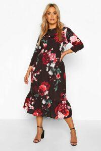Womens Plus Floral Ruffle Hem Midi Dress - black - 20, Black