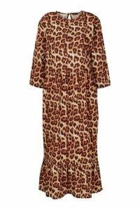 Womens Plus Leopard Ruffle Hem Midi Dress - brown - 20, Brown