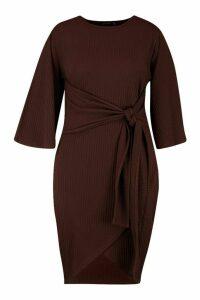 Womens Plus Jumbo Rib Kimono Sleeve Tie Waist Dress - brown - 20, Brown
