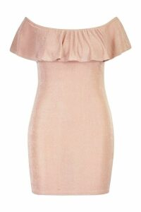 Womens Plus Bardot Ruffle Textured Slinky Midi Dress - pink - 20, Pink